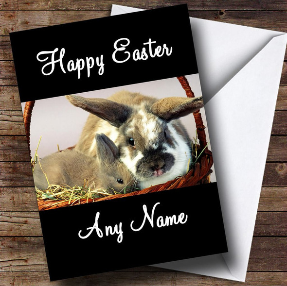 Cute Rabbits Personalised Easter Card