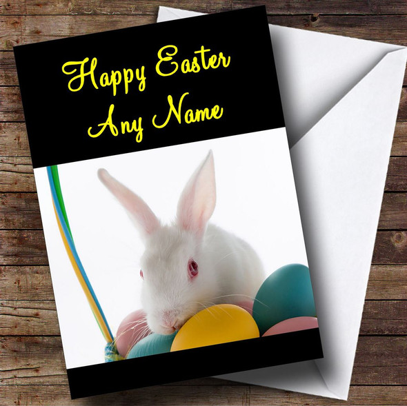 White Easter Bunny Rabbit Personalised Easter Card