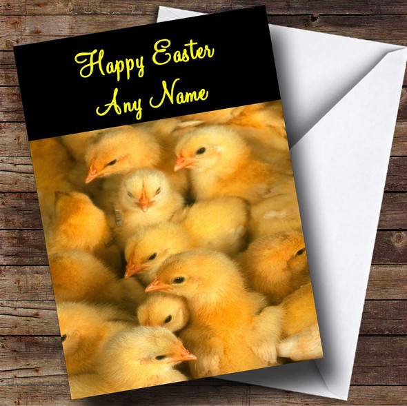Adorable Baby Chicks Personalised Easter Card