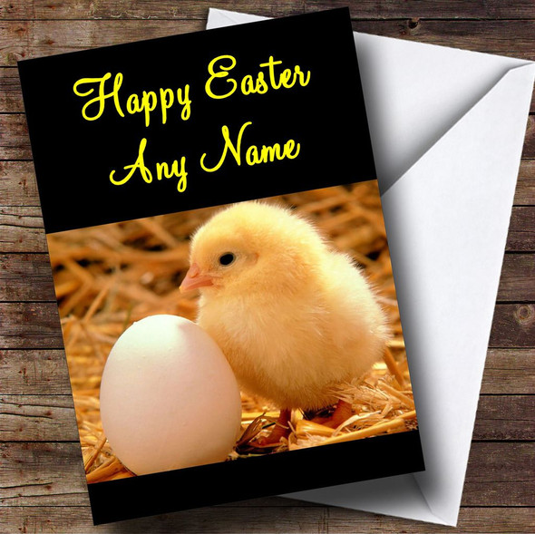 Cute Chick And Egg Personalised Easter Card