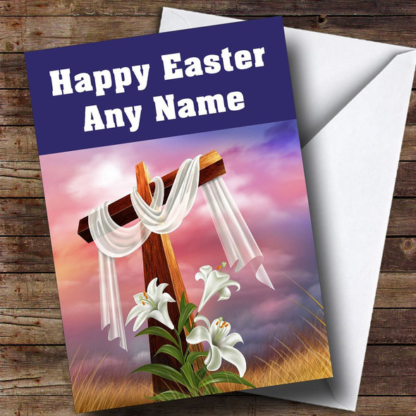 Crucifix Cross And Lily Flowers Personalised Easter Card