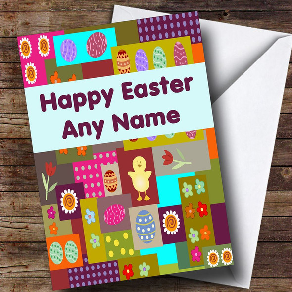 Colourful Patchwork Personalised Easter Card