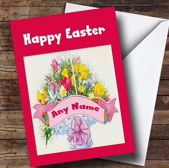 Bunch Of Flowers Personalised Easter Card