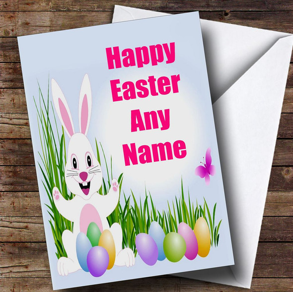 White Easter Bunny Personalised Easter Card