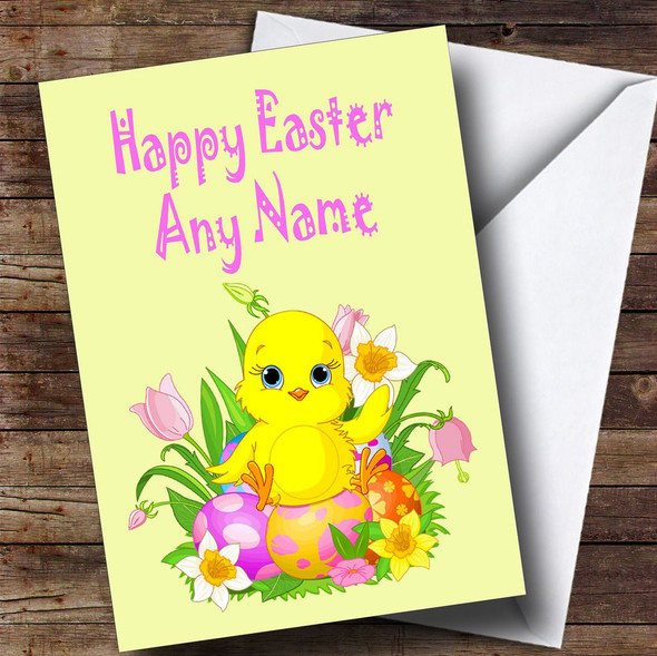 Adorable Easter Chick And Egg Personalised Easter Card