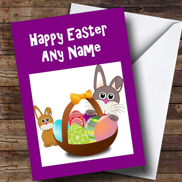 Purple Bunny Rabbits Personalised Easter Card