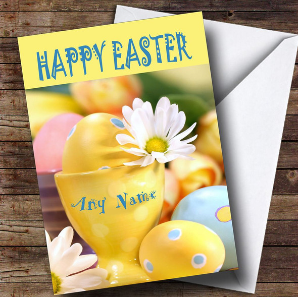 Name On An Egg Cup Personalised Easter Card