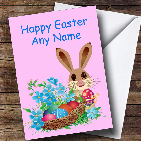 Pink Easter Bunny Personalised Easter Card