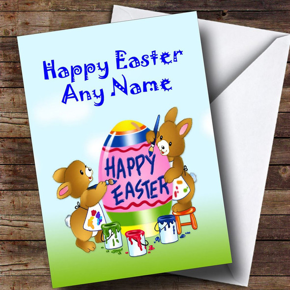 Painting Rabbits Personalised Easter Card