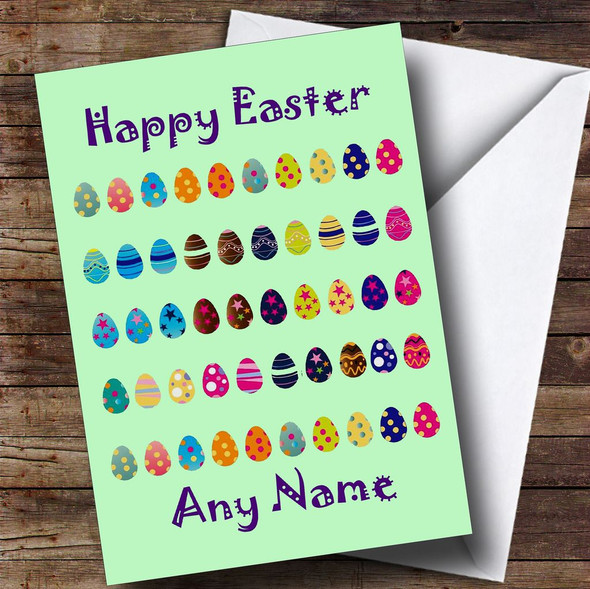Mint Green Easter Eggs Personalised Easter Card