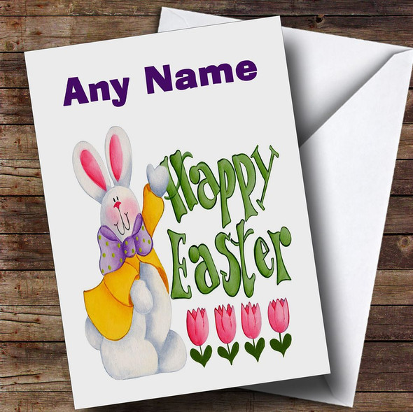 Easter Egg And White Easter Bunny Personalised Easter Card
