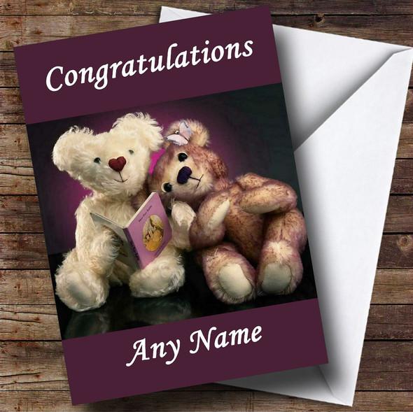 Purple Teddy Bears Personalised Congratulations Card