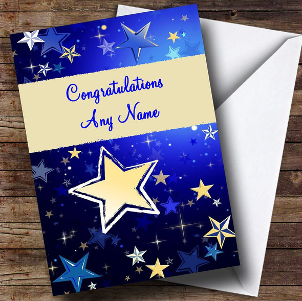 Blue Stars Personalised Congratulations Card