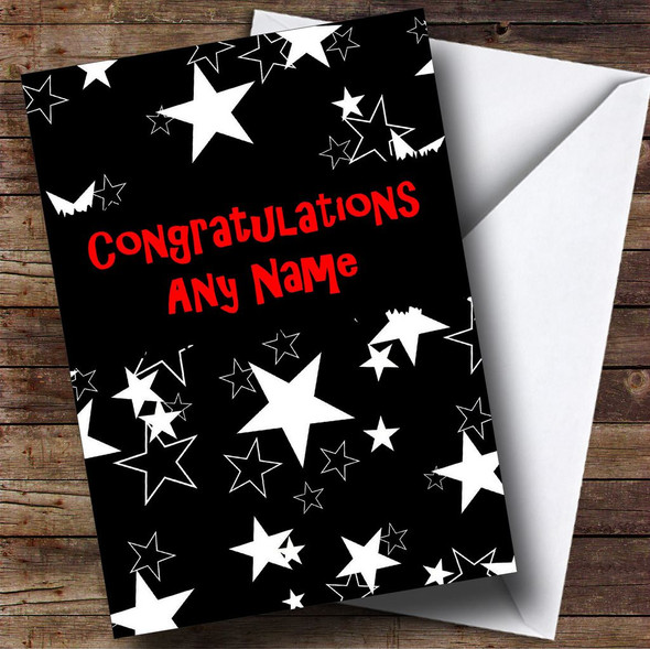 Black And White Stars Personalised Congratulations Card