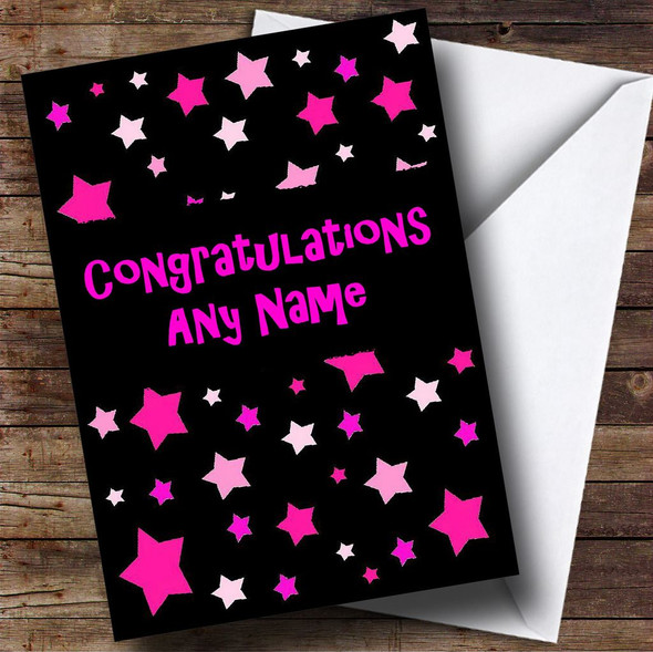 Black And Pink Stars Personalised Congratulations Card