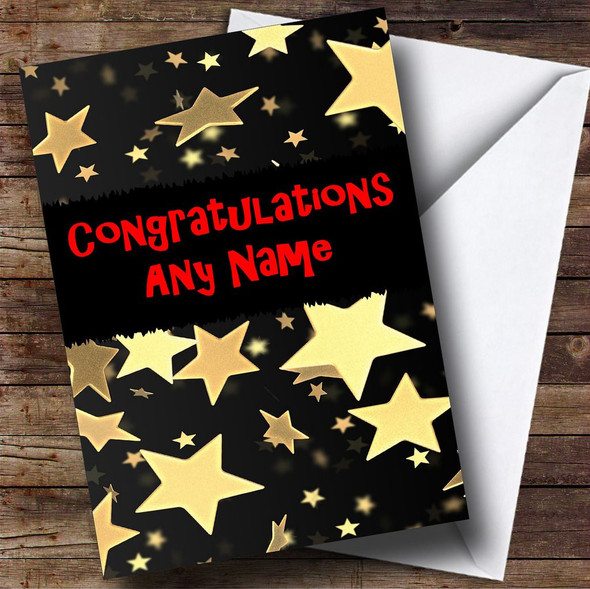 Gold Stars Personalised Congratulations Card
