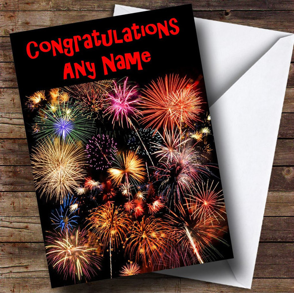 Fireworks Personalised Congratulations Card