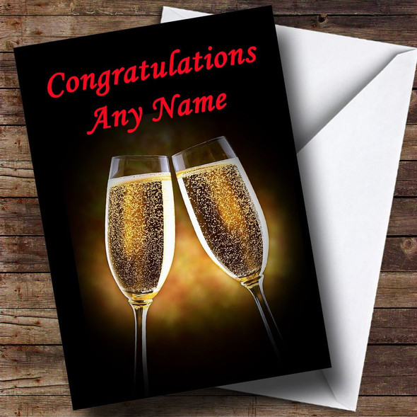 Champagne Glasses Personalised Congratulations Card