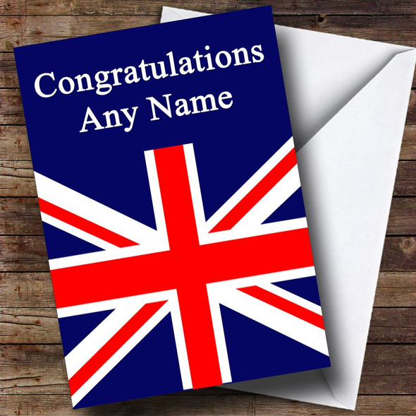 British Flag Union Jack Personalised Congratulations Card