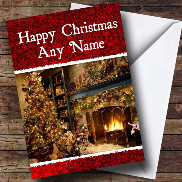 Fireplace Christmas Card Personalised