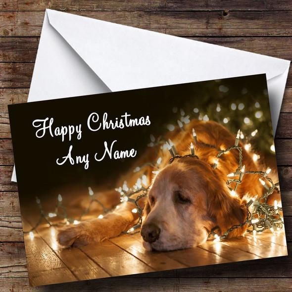 Dog And Xmas Lights Christmas Card Personalised