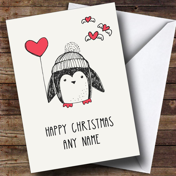 Penguin Heart Balloon Personalised Christmas Card