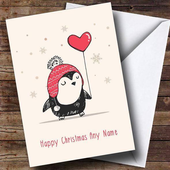 Love Heart Balloon Penguin Personalised Christmas Card