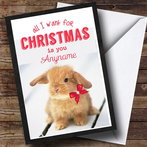 All I Want Is You Rabbit Personalised Christmas Card