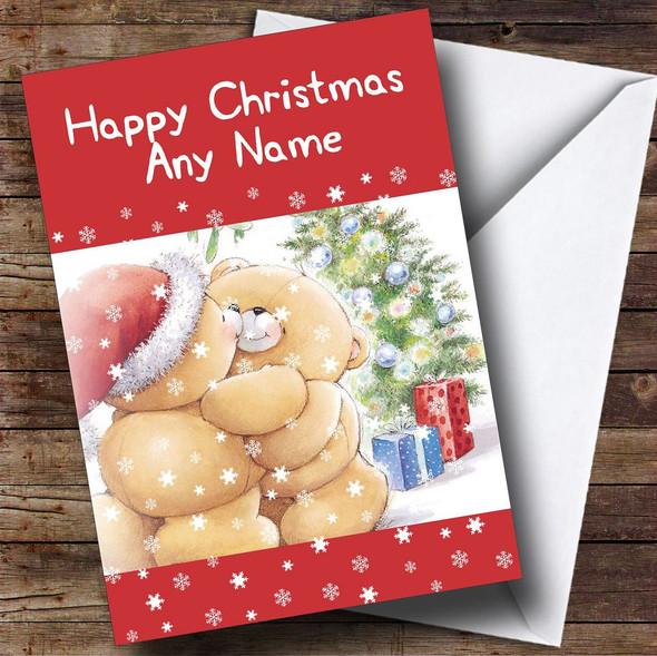 Cuddling Bears Christmas Card Personalised