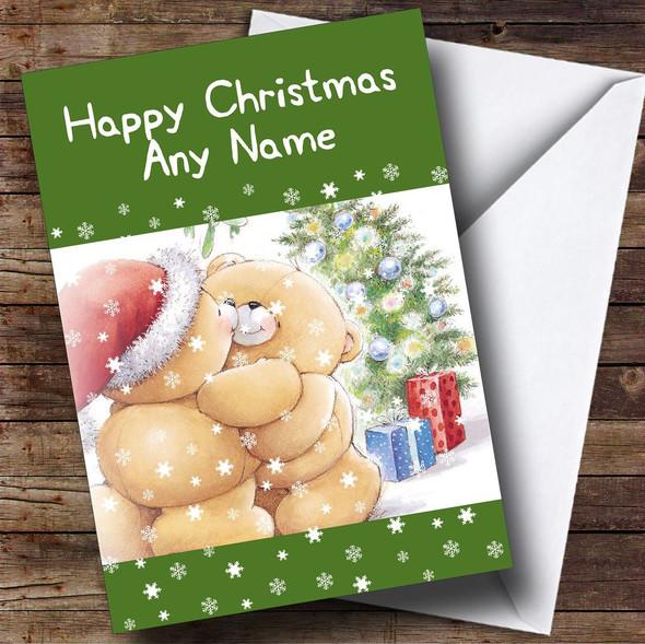Cuddling Bears Green Christmas Card Personalised