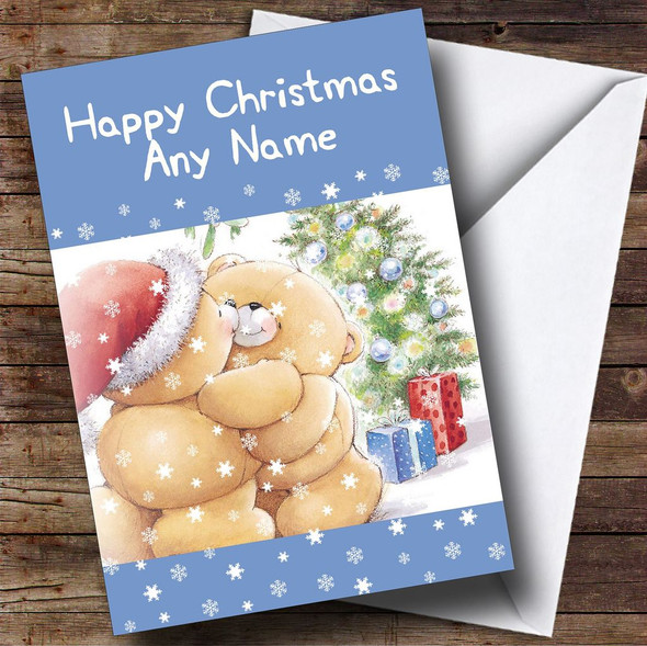 Cuddling Bears Blue Christmas Card Personalised