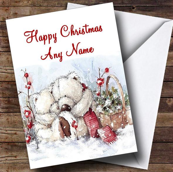 Romantic Bears Christmas Card Personalised