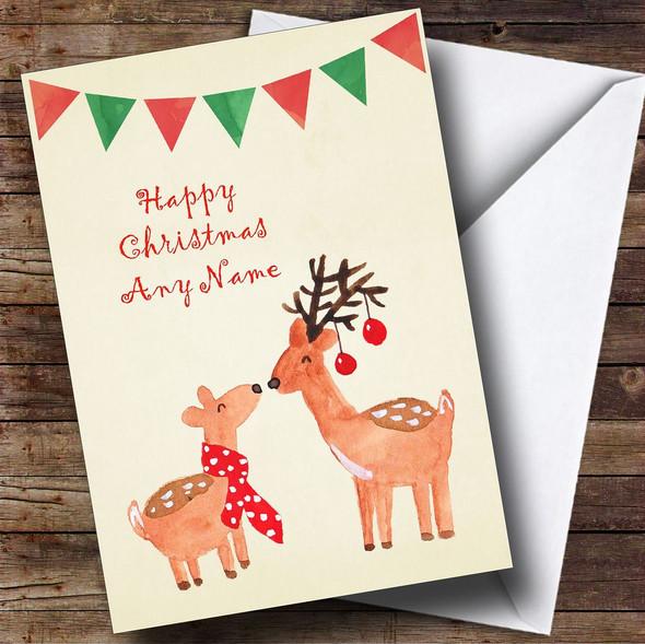 Cute Kissing Reindeers Personalised Christmas Card
