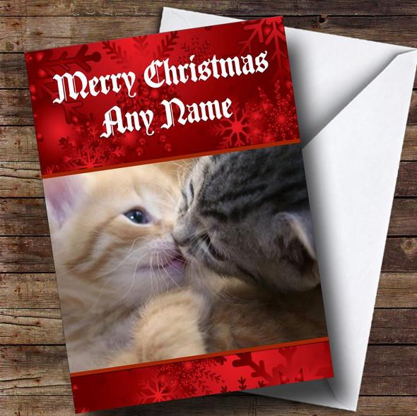 Kissing Kittens Romantic Personalised Christmas Card