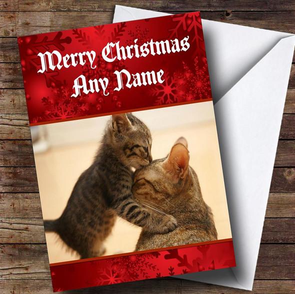 Cute Cats Kissing Romantic Personalised Christmas Card