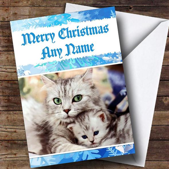 Cuddling Cats Romantic Personalised Christmas Card
