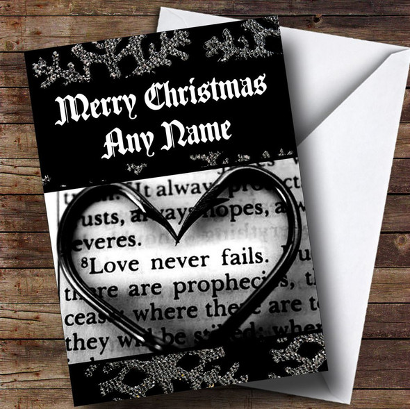 Romantic Love Script Personalised Christmas Card