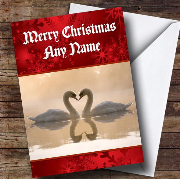 Romantic Swans Personalised Christmas Card