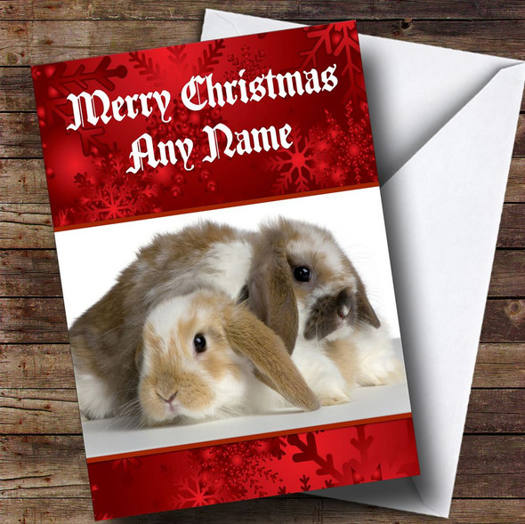 Cute Cuddly Rabbits Romantic Personalised Christmas Card