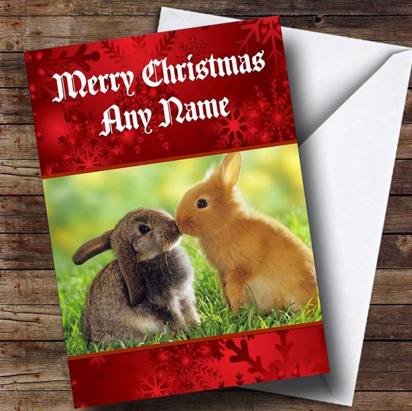 Rabbits Kissing Romantic Personalised Christmas Card