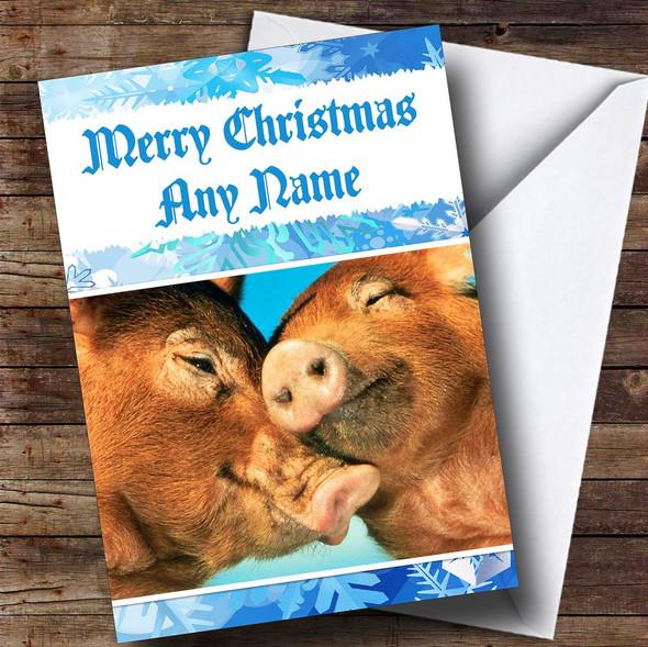 Cute Cuddling Pigs Romantic Personalised Christmas Card
