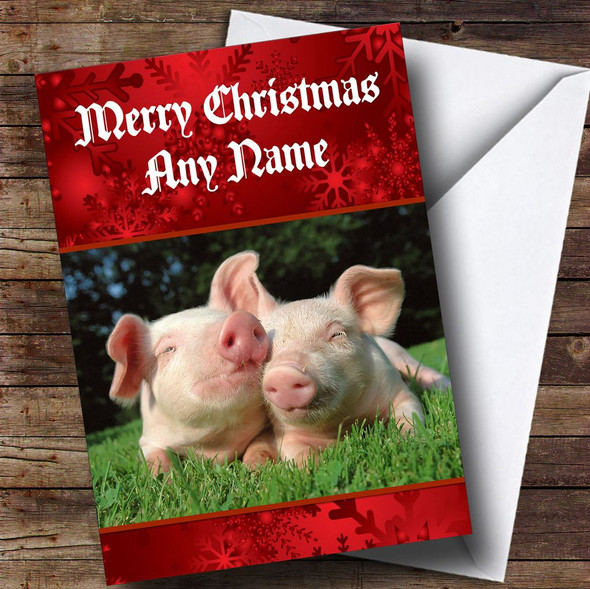 Snuggly Pigs Romantic Personalised Christmas Card