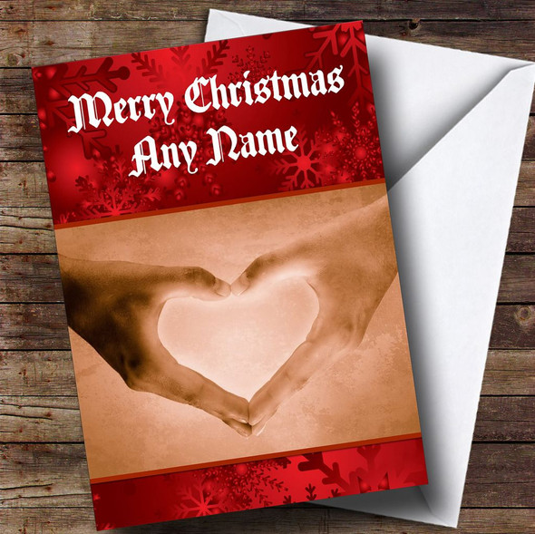 Love Heart Hands Romantic Personalised Christmas Card