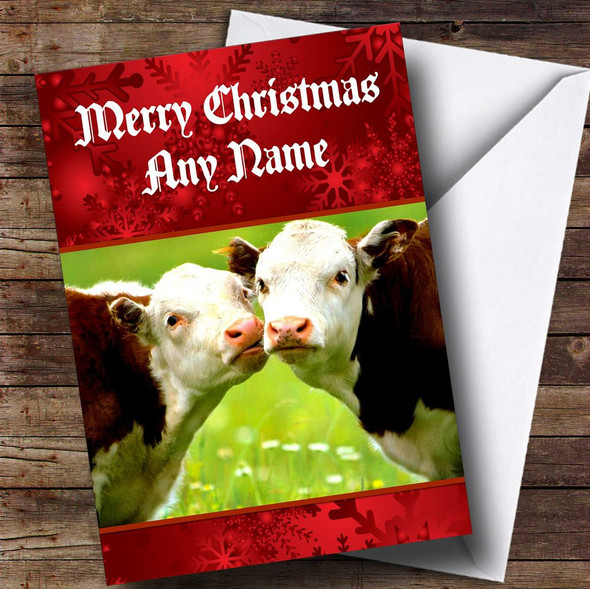 Cuddly Cows Romantic Personalised Christmas Card