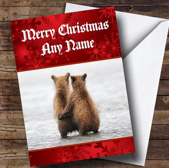 Cuddling Bears Romantic Personalised Christmas Card