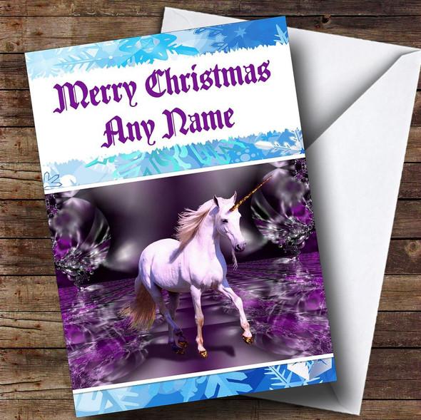 Beautiful Unicorn Personalised Christmas Card
