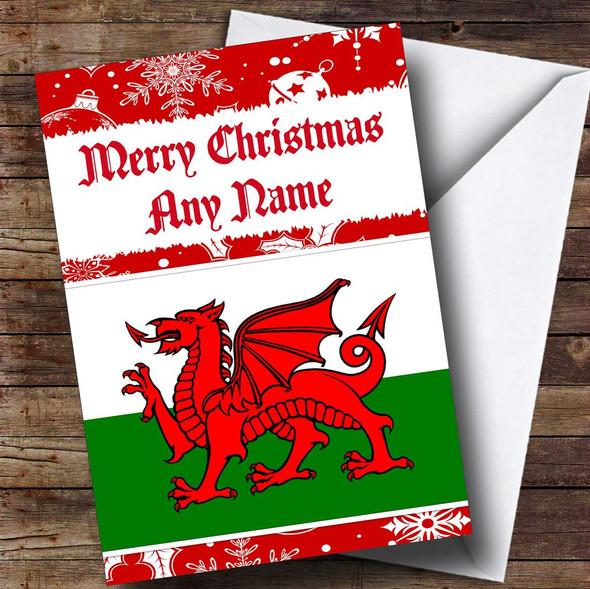 Welsh Flag Personalised Christmas Card