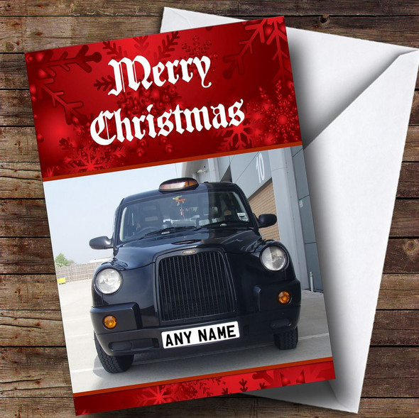 Black Taxi Cab Personalised Christmas Card