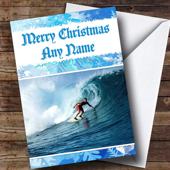 Surfing Personalised Christmas Card