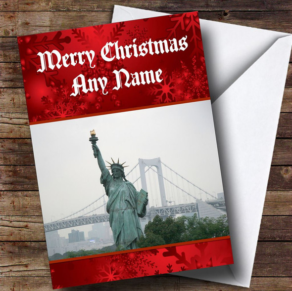 New York Statue Of Liberty Personalised Christmas Card